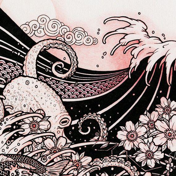 Waves 02 Japanese Tattoo Style Drawing Waves Octopus Cherry Blossom Moon Koi 8x10 Art Print Japanese Wave Tattoos Japanese Tattoo Japanese Tattoo Art