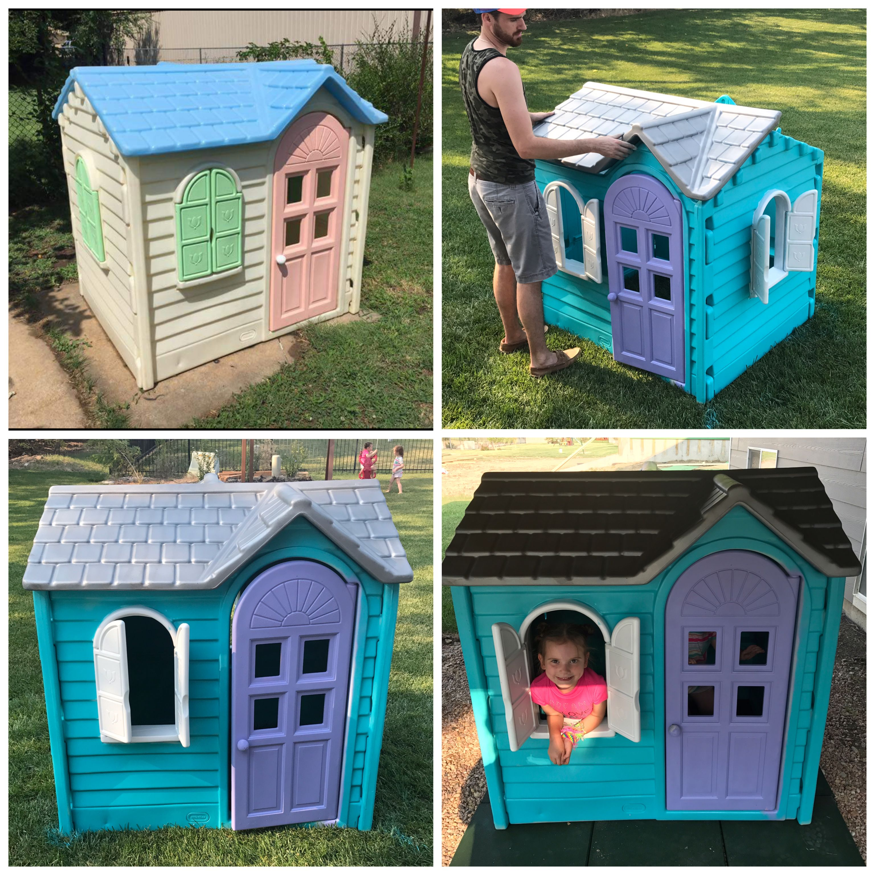 Fisher Price Playhouse Makeover Rustoliam Teal White Purple And
