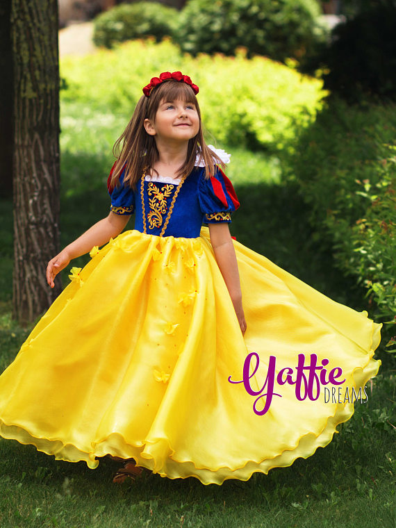 Snow White Dress Beautiful Disney Princess Outfit Halloween Costume For Girl Birthday Party Gift Ideas Luxury