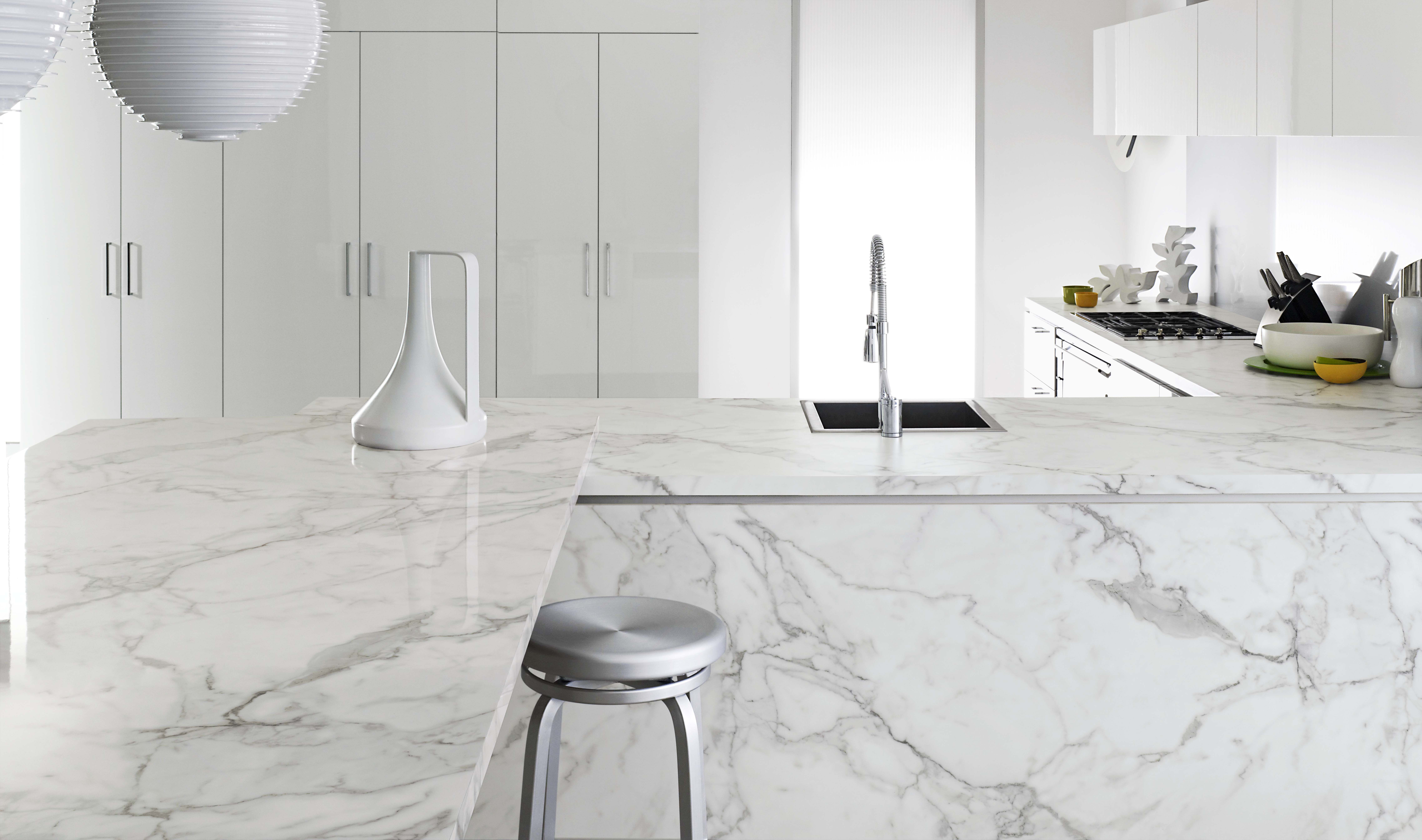 Front benchtop formica 180fx carrera marble gloss finish for Marmol gris perla