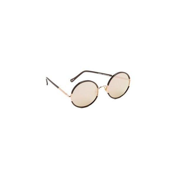 Sunday Somewhere Yetti Sunglasses (1.030 BRL) via Polyvore featuring accessories, eyewear, sunglasses, mirror glasses, mirrored glasses, round frame sunglasses, mirror lens sunglasses e mirrored polarized sunglasses