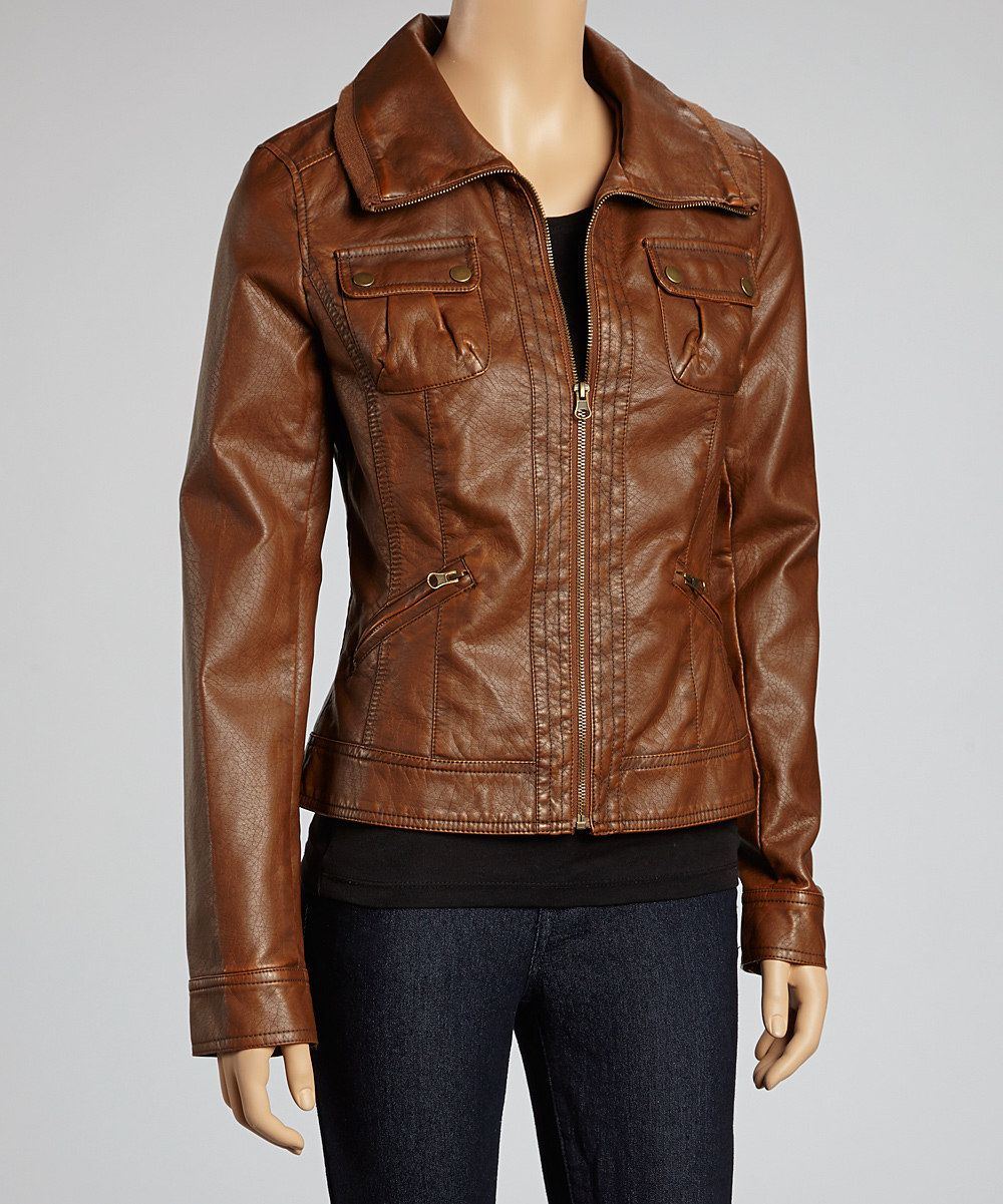Brown jacket (With images) Faux leather jacket women
