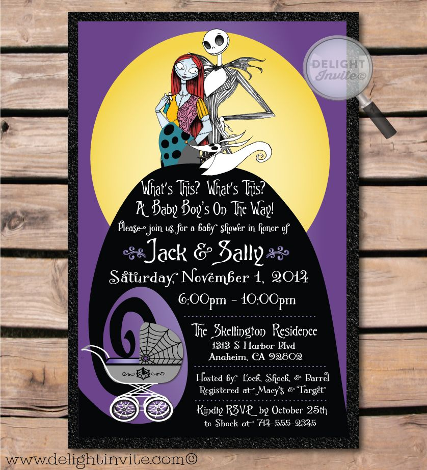 Nightmare Before Christmas Baby Shower Invitation DI4525 – Nightmare Before Christmas Birthday Invitations