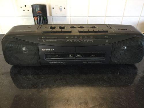 sharp 80s boombox. rare 80\u0027s 90\u0027s #vintage sharp #wq-284 portable stereo #boombox radio twin 80s boombox