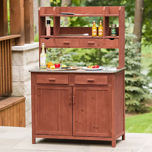 Leisure Season Potting Bench With Storage The Home Depot Canada Outdoor Kitchen Sink Kitchen Prep Station Modular Outdoor Kitchens