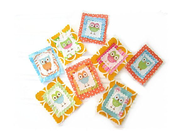OWL  Fabric  Appliques Bright Colorful by LittleGoodie2Shoes, $9.00
