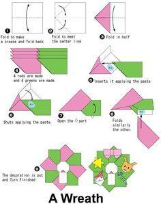 r sultat de recherche d images pour origami christmas wreath easy rh pinterest co uk christmas origami diagrams free Christmas Origami Reindeer