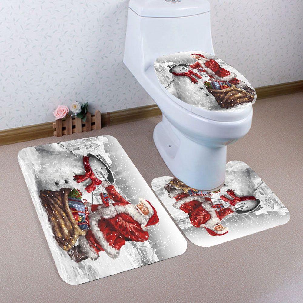 piece christmas style nonslip bath mat set pedestal rug lid