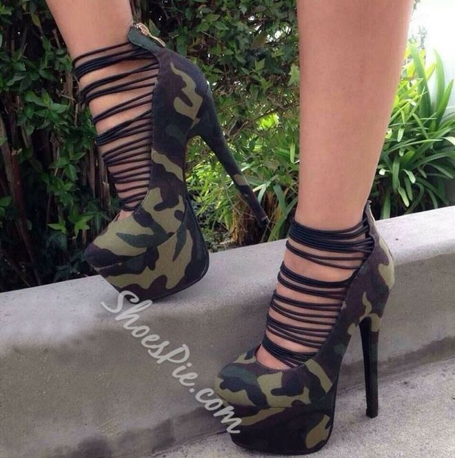 New Fashion Camouflage Cut Outs Platform Heels | grad in