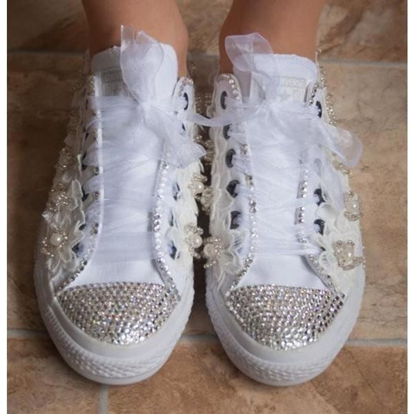 58d9a5e1b43bfc Wedding Converse Trainers With Crystals Lace   Pearls. Wedding Bridal  Converse Tennis Shoes