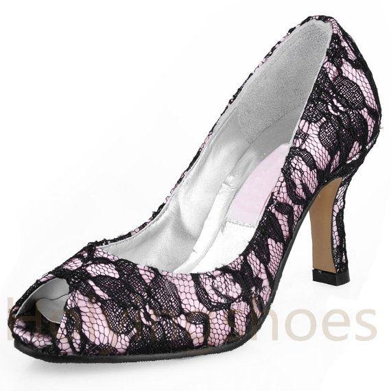 Elegant black  lace wedding shoes/ bridal by bridalshoesandclutch, $149.00