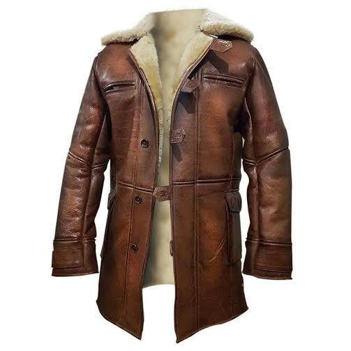 RAF Pilot Fur Aviator Black Trench Long Coat 3//4 Genuine Leather Jacket For Men