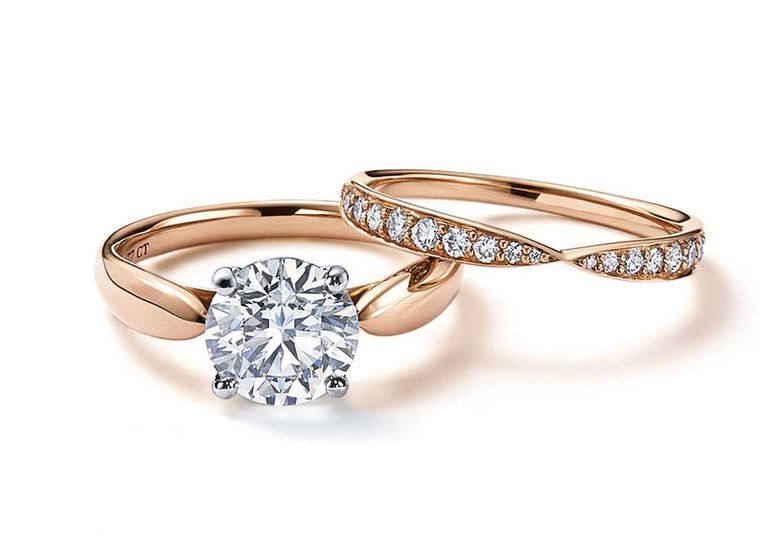 tiffany has captured our hearts with its rose gold engagement rings and wedding bands