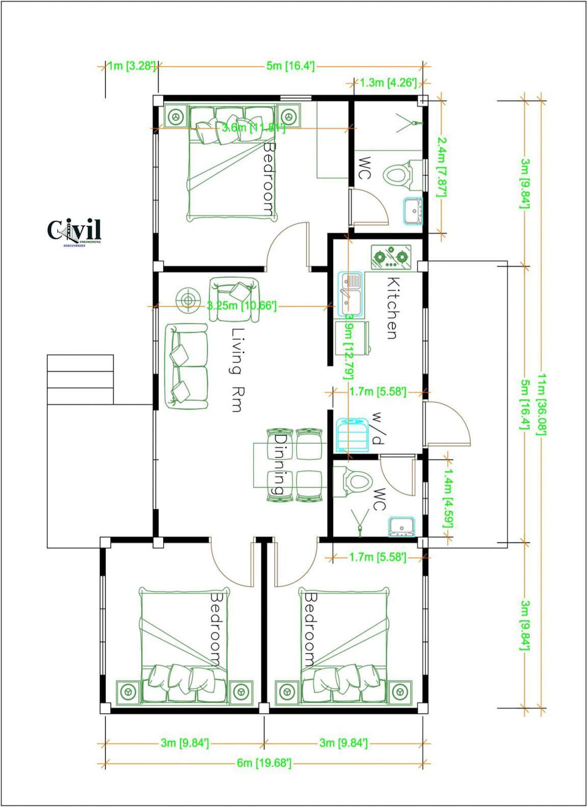 House Design Plans 11 6 Meters 36 20 Feet 3 Bedrooms Engineering Discoveries Home Design Plans House Design Modern House Floor Plans