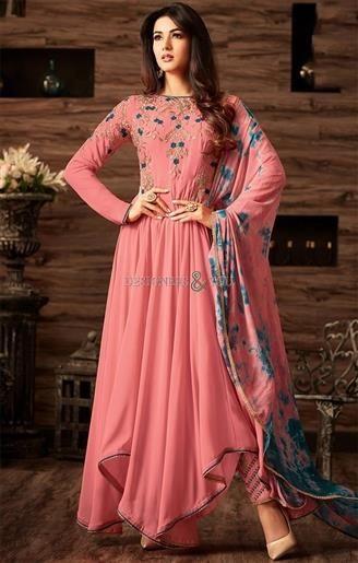 4fd535f75c Ultramodern Peach Georgette Indo Western Dress For Sangeet Party in ...