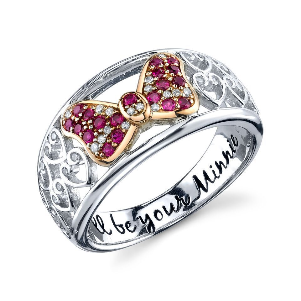 STERLING SILVER GENUINE NATURAL DIAMOND CREATED RUBY DISNEY MINNIE MOUSE RING 7