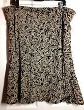 JH Collectibles WOMAN  ~ Black & Tan Floral Print Pleated A-Line Skirt ~ Size 2X