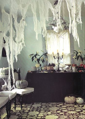 Another Stylishly Sophisticated set-up for Halloween Buffet - halloween indoor decorating ideas