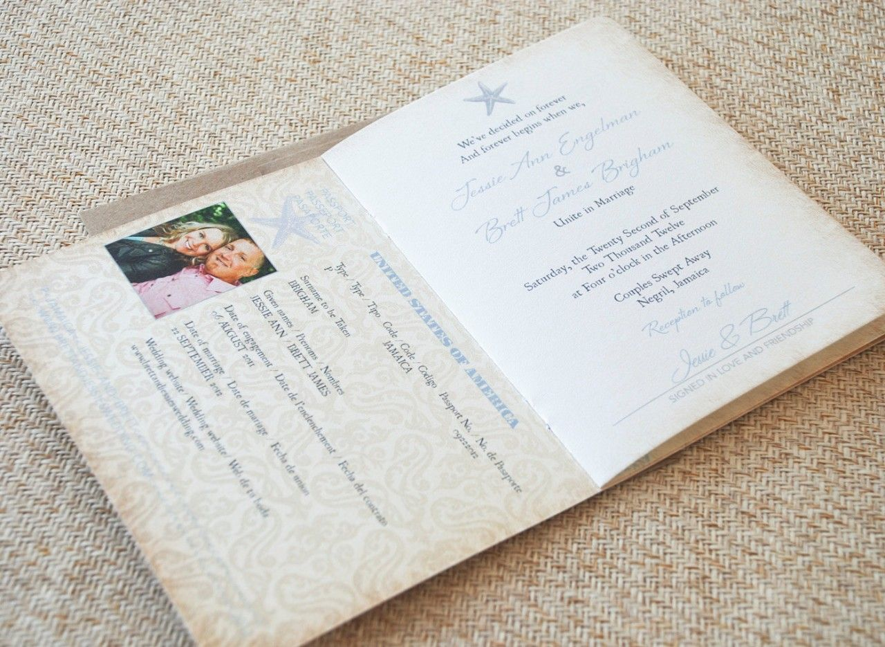 wedding stationery folders%0A The Jamaica Destination Wedding folderstyle Passport Invitation is perfect  for including all of your destination details
