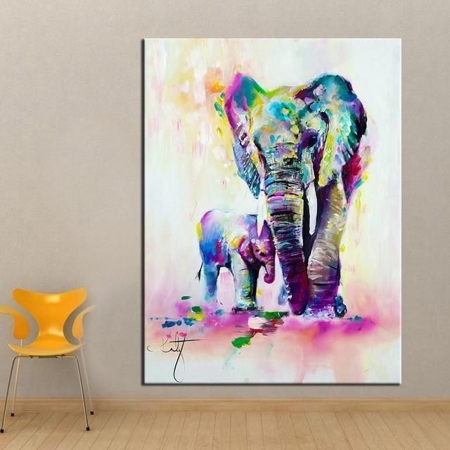 Photo of Fantasy Elephant with Mom Wall Art – 70 x 100 cm