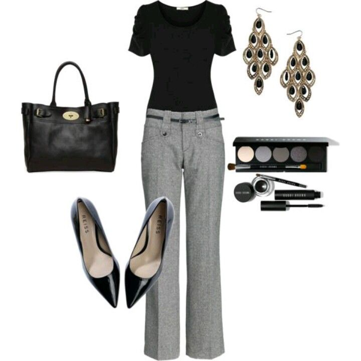 Plain black shirt and gray slacks never goes out of style. Too ...
