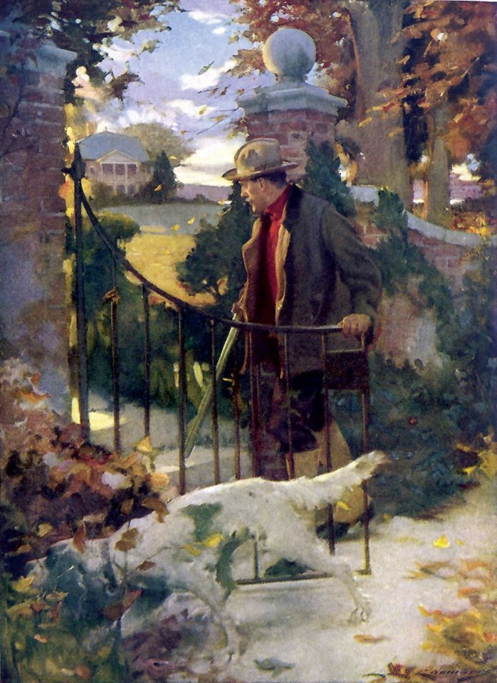 """Charles E. Chambers """"The old world charm of the scene held me captive."""" Dare's Gift Harper's Monthly, February 1917"""