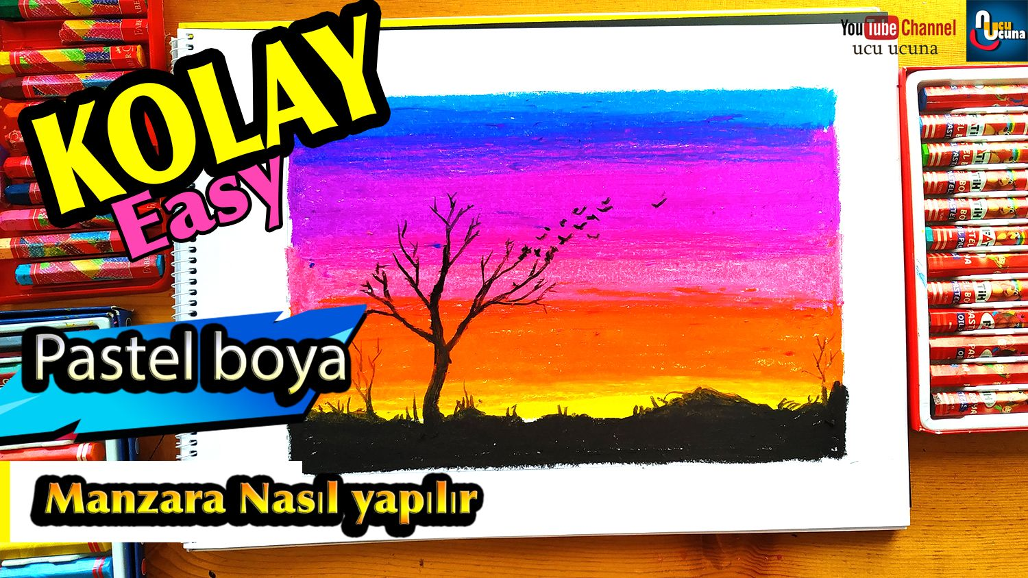 How To Draw Sunset With Oil Pastel Step By Step Easy Turkish Pastel Boyalar Pastel Yagli Pastel Boya