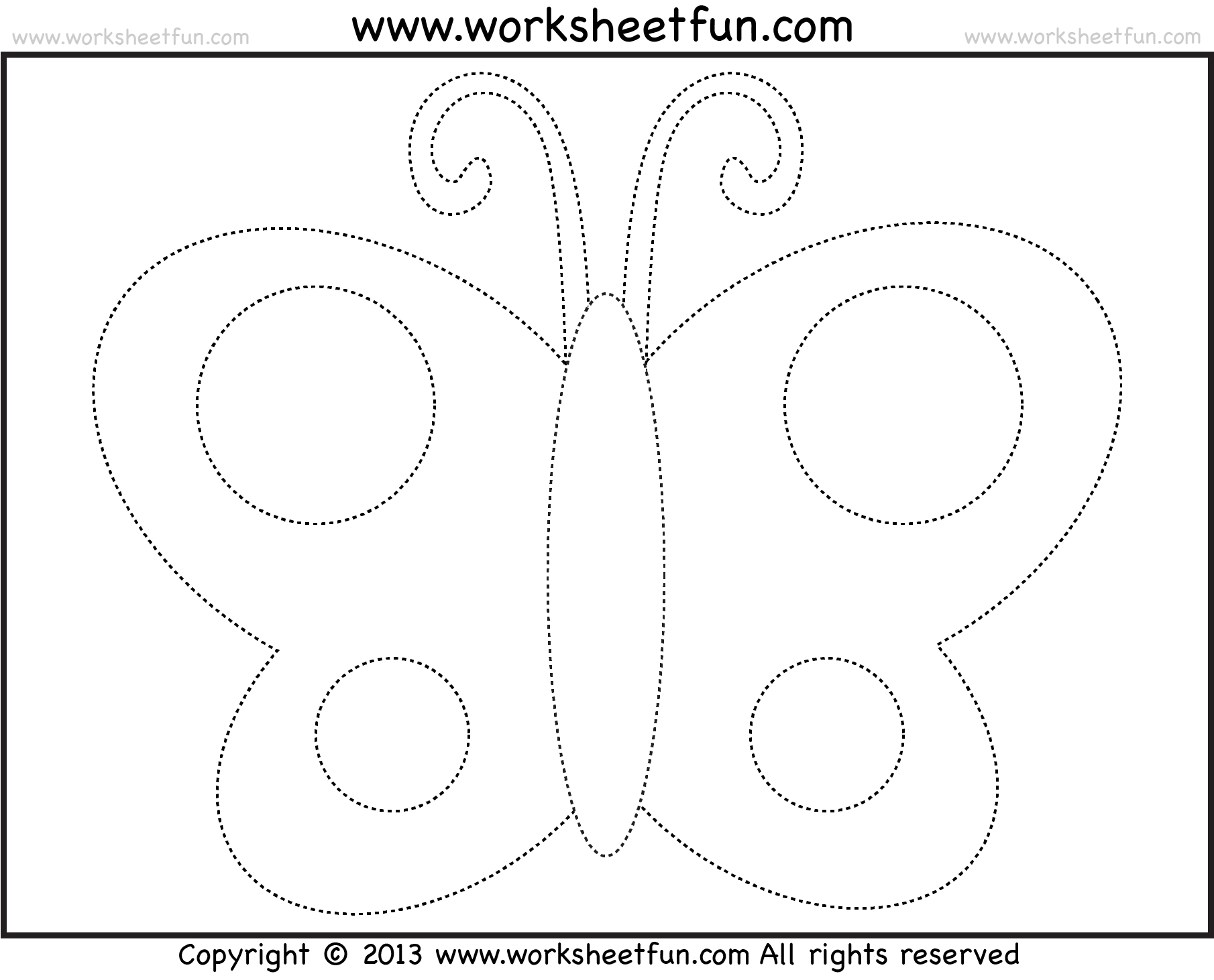 Picture tracing butterflies (4 options) Free preschool