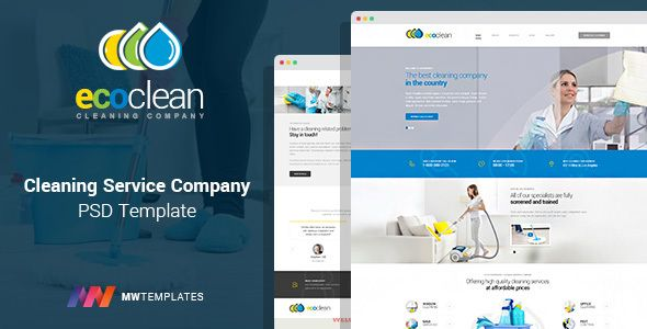 EcoClean is a professional PSD template for cleaning companies and - spreadsheet for cleaning business