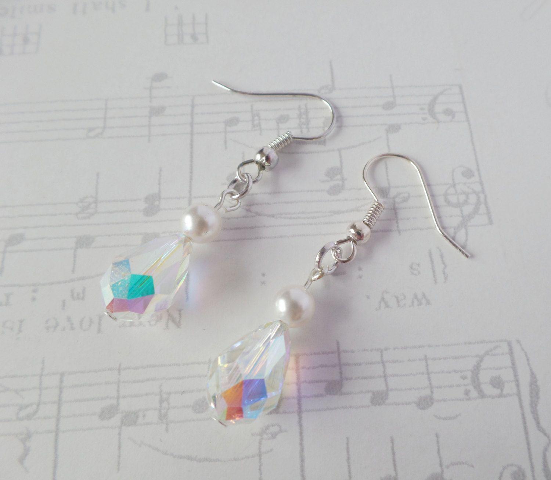 Crystal Bridal Earrings, Swarovski Crystal, Sterling Silver Earrings, Swarovski Pearl Earrings, Sparkly Wedding, Bridesmaid Earrings, Verity by LilyRoseTiara on Etsy