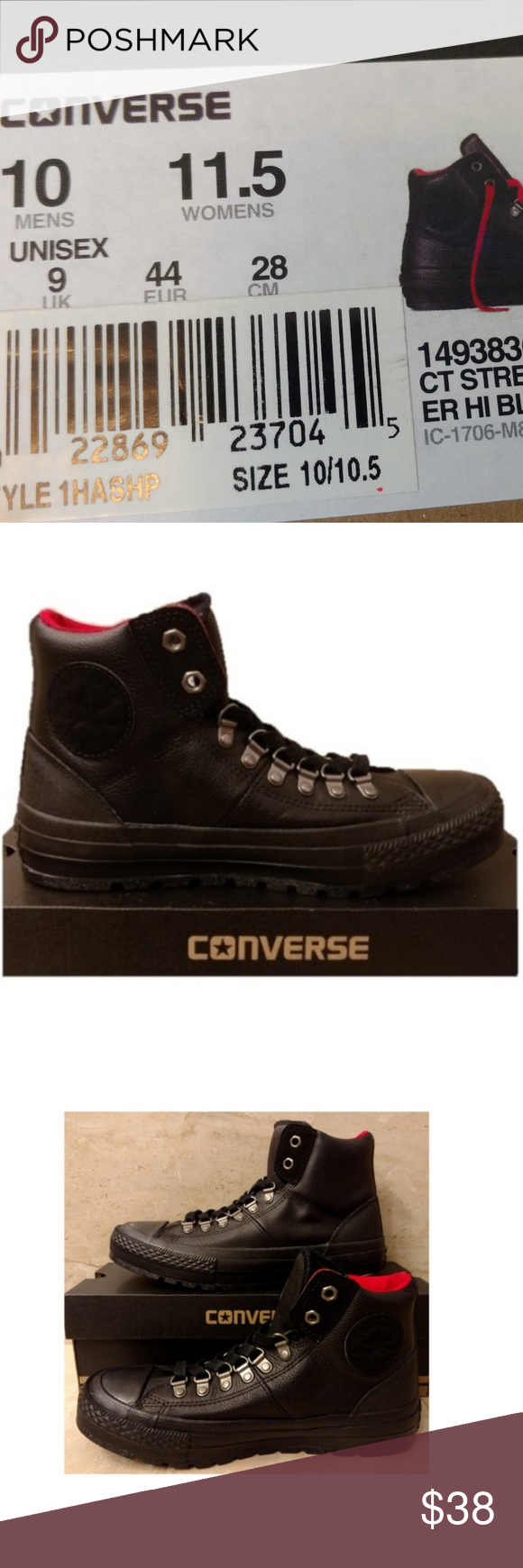 9f3f381d53e7 Sz 10 Black Leather Converse Street Hiker Boot Hi Size  US Men s 10  Condition  Brand new with box NWB Style  149383C MSRP   90 Uplift your  Boots with these ...