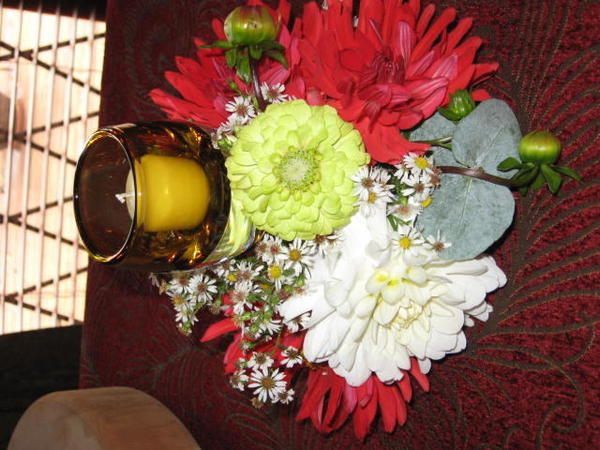 Used floral oasis at base of candleholder---Dahlias from my garden