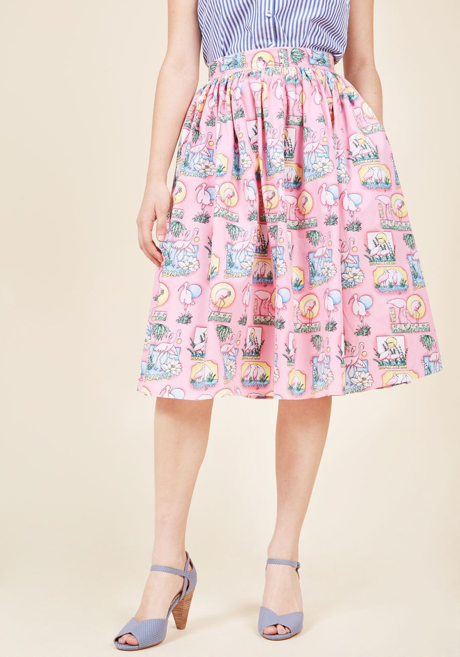 <p>While flaunting this pink midi skirt, you don't just fit in with your fashionable friends - you proudly stand out! Other dresses and separates can step aside, because when you flaunt the high waist, pockets, fun flamingos, and getaway affirmations of this quirky A-line find, other looks can't even compare.</p>