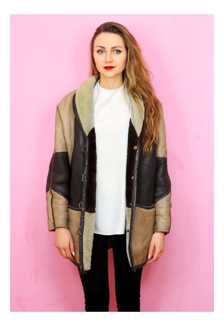 1980s vintage real leather shearling patch coat   Colour Me Vintage   ASOS Marketplace