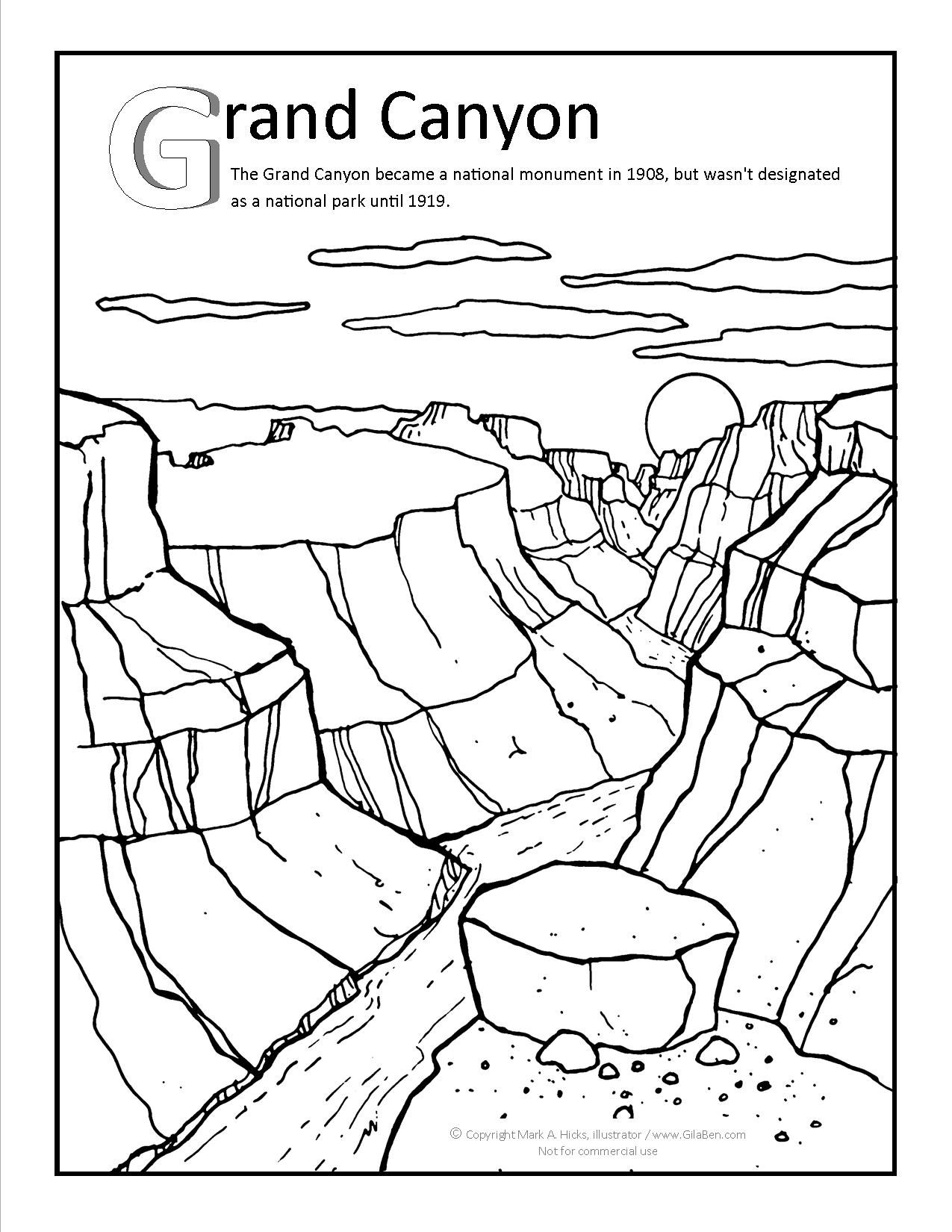 Grand canyon coloring page at arizona for A z coloring pages
