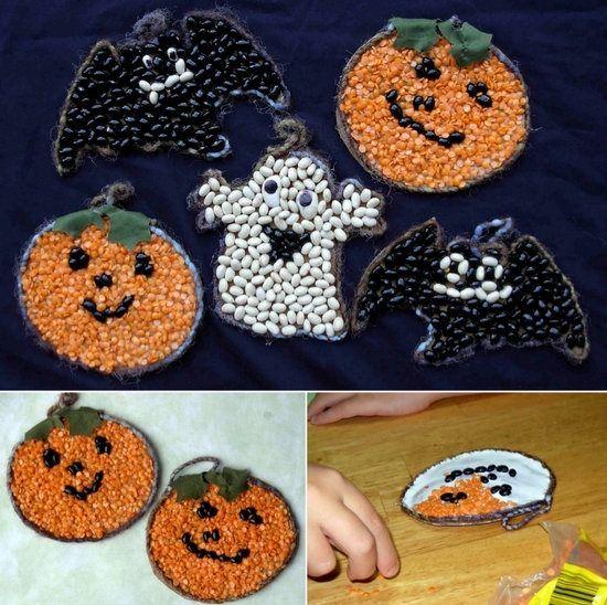 Calabazas y fantasmas de semillas para halloween - Calabazas para halloween manualidades ...