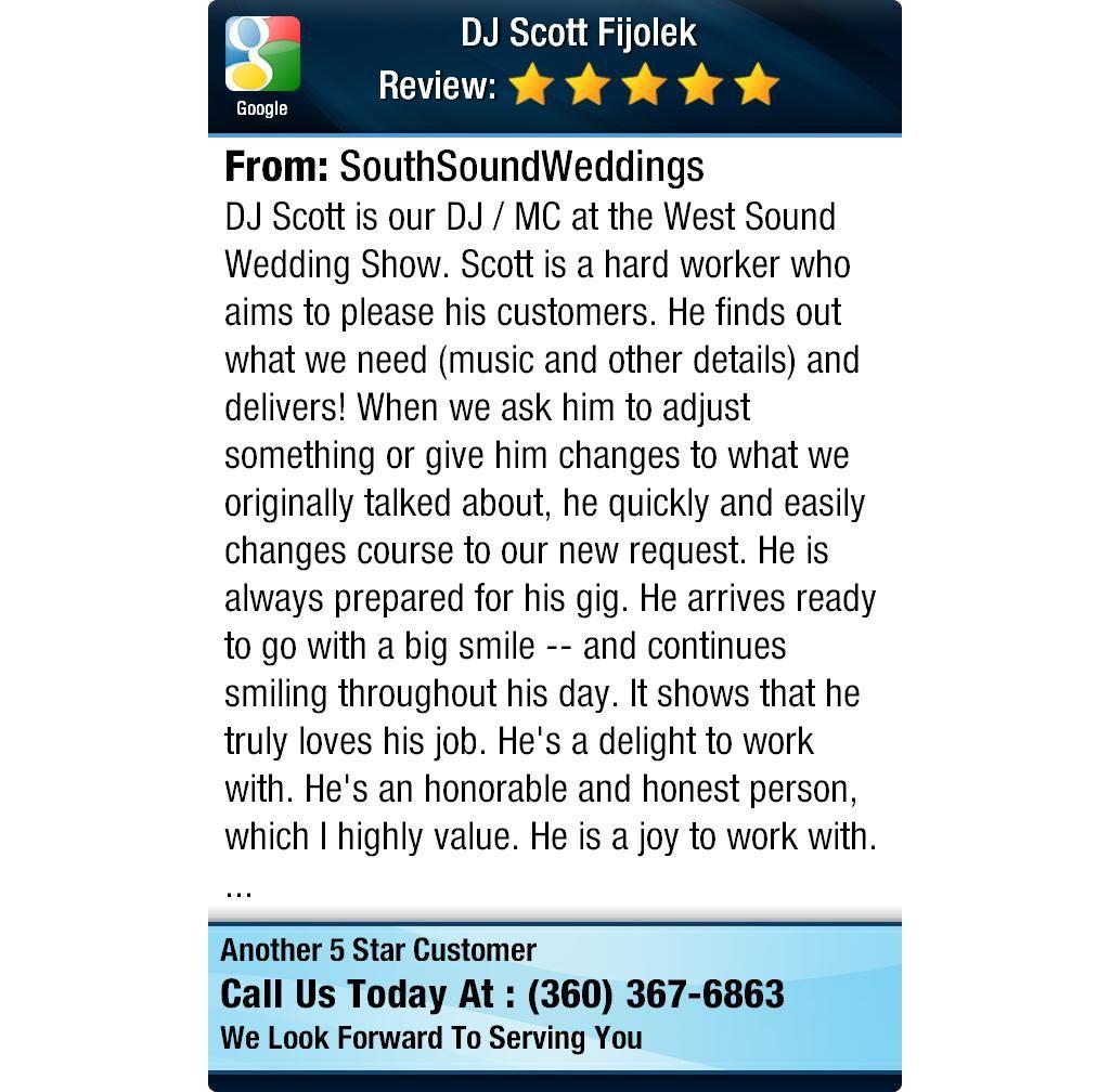 Dj scott is our dj mc at the west sound wedding show