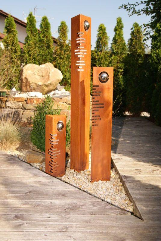 Säulen Set Modern Edelrost mit Edelstahl - Kugeln Rost Garten - deko garten modern