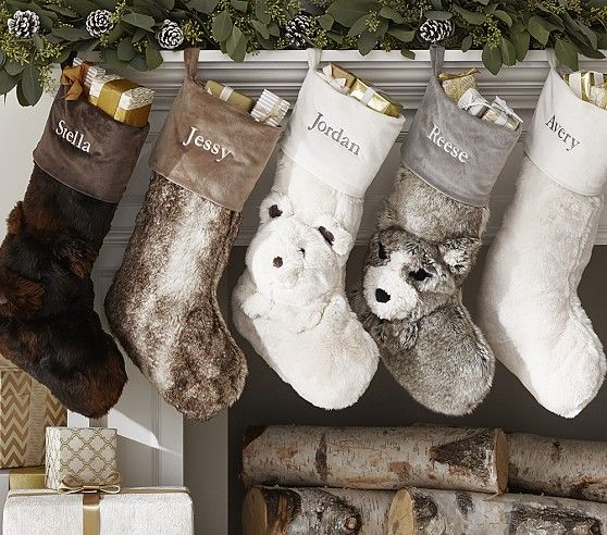 Faux Fur Stocking Collection Quilted Christmas Stockings