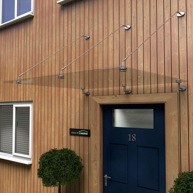 Glass Door Canopy with Stainless Steel Tie Rods and fixings TYPE P & Glass Door Canopy with Stainless Steel Tie Rods and fixings TYPE: P ...