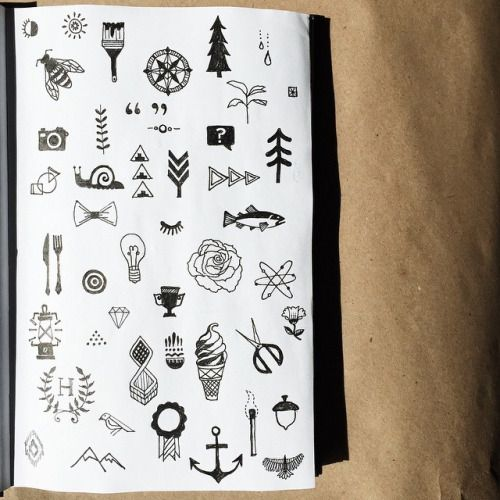 """116/365 - tiny icons or """"tiny tattoos"""" for @heathera. #twoifbyseastudios #sketchbook #artdaily2015 #artlicensing #icons #design #illustration #calledtobecreative #liveauthentic #sketch #thatsdarling #darlingmovement"""