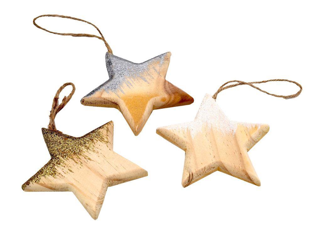 Weihnachtsbaumschmuck Christbaumschmuck Stern Anhanger Holz Gold