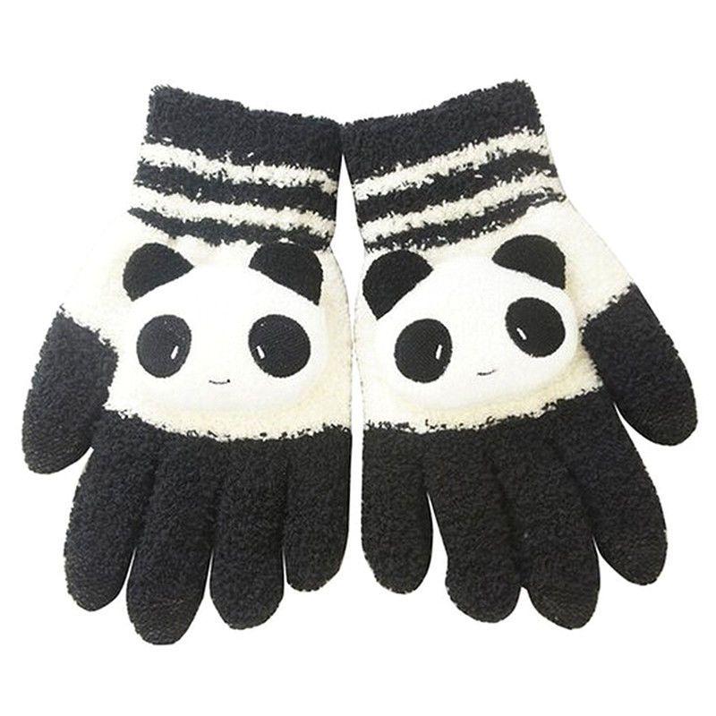 Women Winter Sweet Panda Design Touchscreen Gloves Black White W7H2