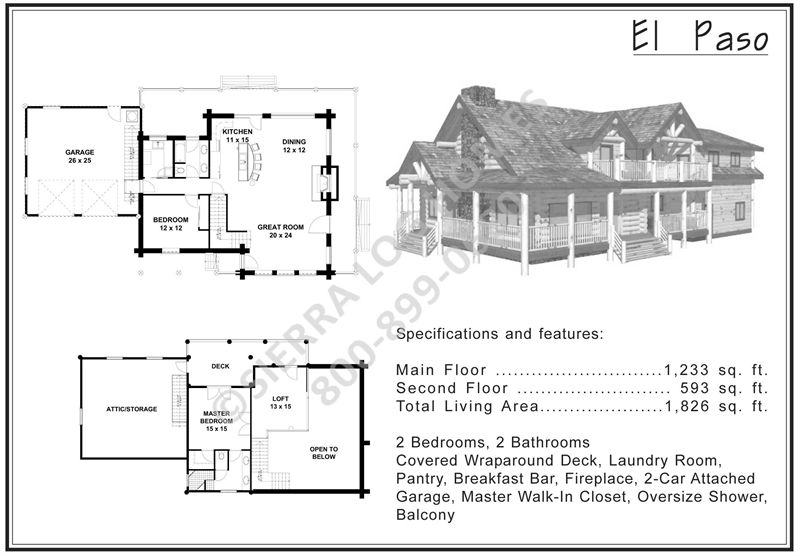 El Paso | Log homes, Getaway cabins, Floor plans