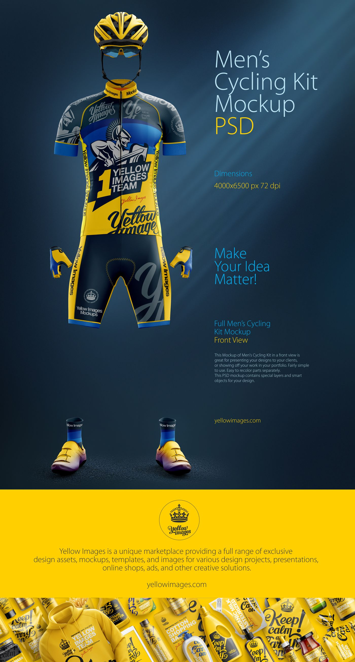 Men's Cycling Kit Mockup on Behance Mockup camiseta, Camisa
