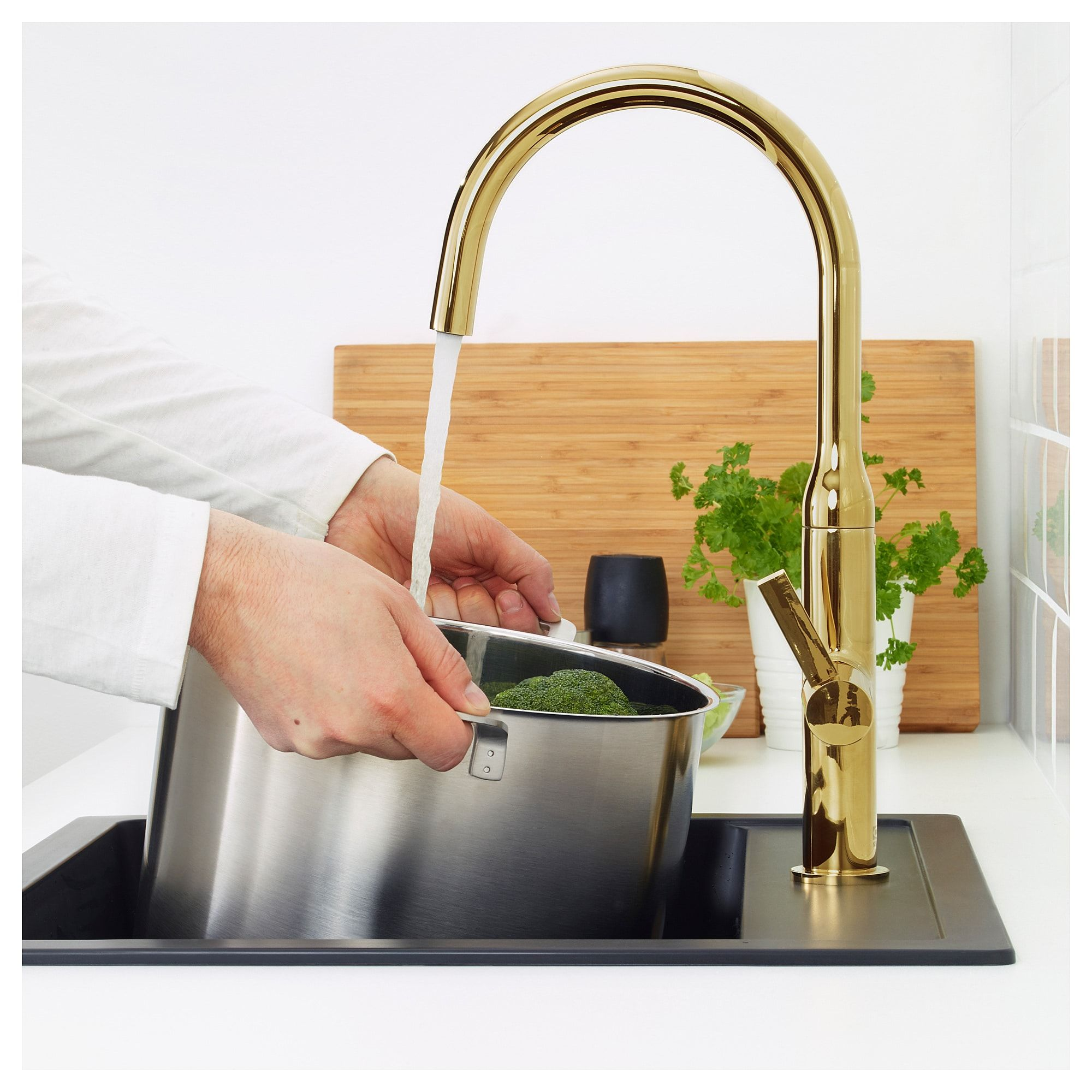 Nyvattnet Kitchen Faucet Polished Polished Brass Color In 2020 Brushed Brass Kitchen Faucet Kitchen Mixer Taps Faucet