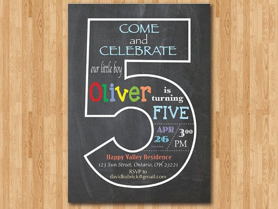 Chalkboard 5th Birthday Invitation Fifth Invite Baby Boy Or Girl Party Turning Five Printable Digital DIY