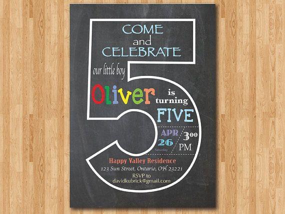 chalkboard 5th birthday invitation fifth birthday invite baby boy
