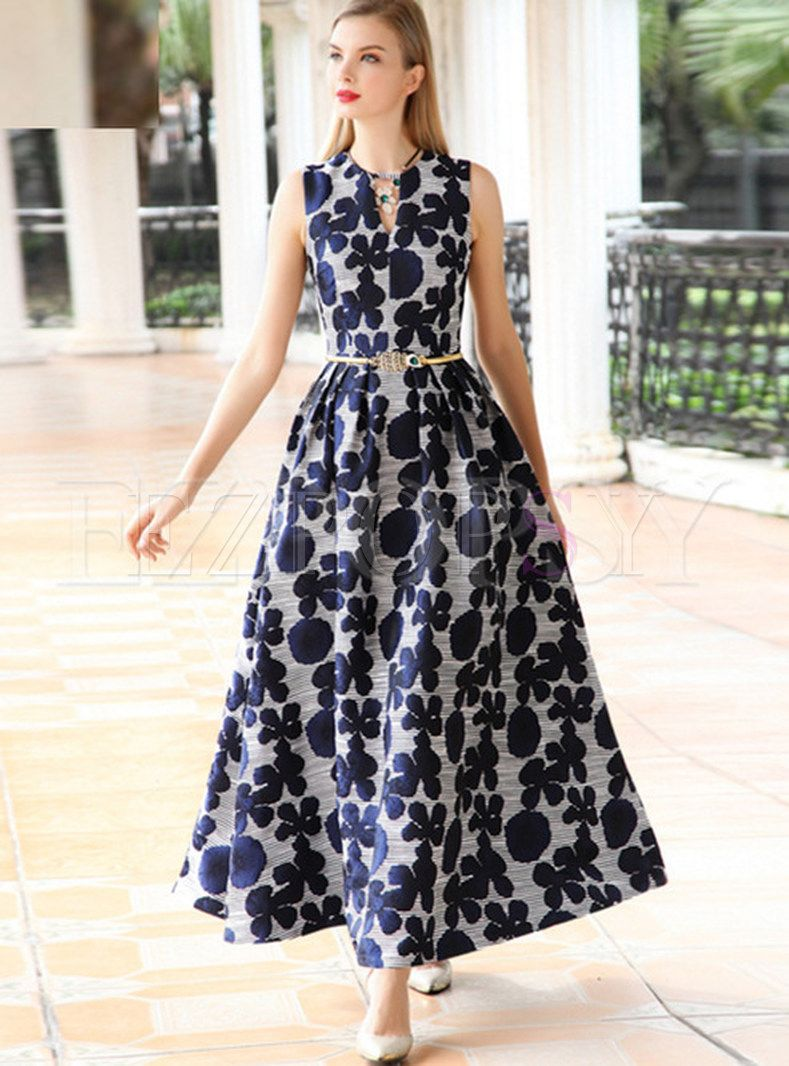 2fe300df31 Shop for high quality Floral Print Sleeveless Oversize Maxi Dress online at  cheap prices and discover