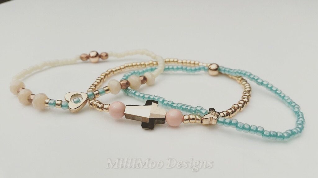 Pretty Delicate Stacking Set of 3 Boho/Hippie Bracelets in Ivory, Rose Gold & Turquoise Colours Featuring Swarovski Crystal Beads by MilliMooDesigns on Etsy